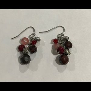 The limited pink red beaded dangle hook earrings